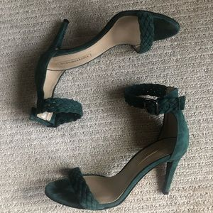 Dark green suede heels